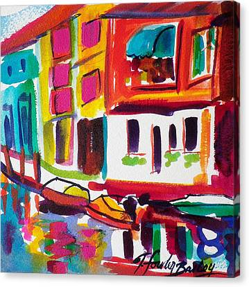 Burano Italy Side Street Sold Original Canvas Print by Therese Fowler-Bailey