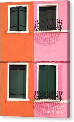 Burano Pink And Orange Canvas Print by Inge Johnsson