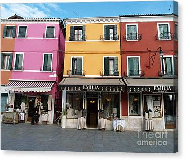 Canvas Print featuring the painting Burano by Robin Maria Pedrero