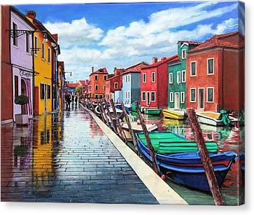 Burano War Of Colors Canvas Print