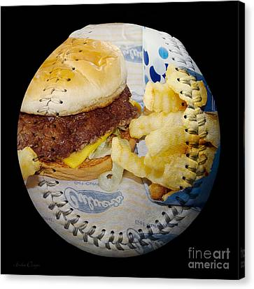Burger And Fries Baseball Square Canvas Print by Andee Design