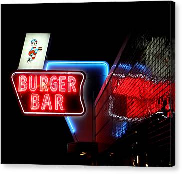 Burger Bar Neon Diner Sign At Night Canvas Print by Denise Beverly