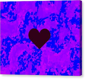 Burgundy Heart Blue Violet Pattern Kam Canvas Print