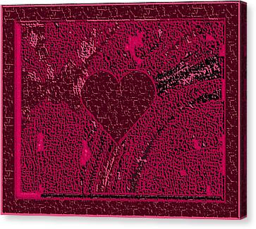 Burgundy Valentine Carved In Stone Canvas Print