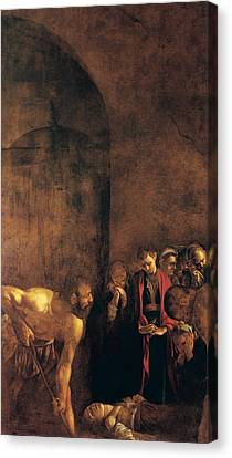 Burial Of St Lucy Canvas Print by Caravaggio