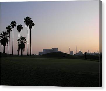 Burj -view From Golf Course Canvas Print by Sunil Palayil