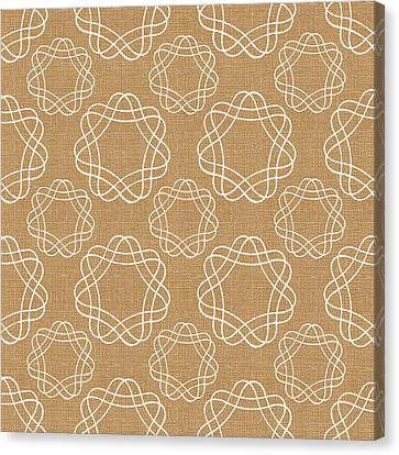Burlap And White Geometric Flowers Canvas Print by Linda Woods