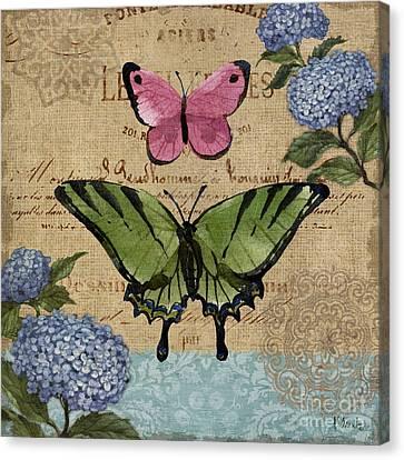 Burlap Canvas Print - Burlap Butterflies I by Paul Brent