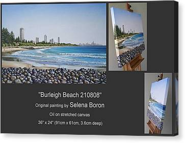 Canvas Print featuring the painting Burleigh Beach 210808 by Selena Boron