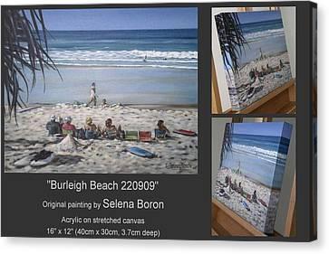 Canvas Print featuring the painting Burleigh Beach 220909 by Selena Boron