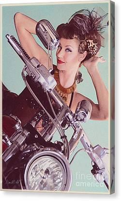 Burlesque Biker -portrait Canvas Print