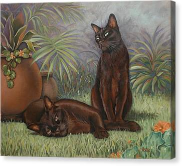 Canvas Print featuring the painting Burmese Beauty by Cynthia House