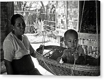 Bamboo House Canvas Print - Burmese Grandmother And Grandchild by RicardMN Photography