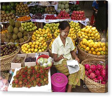 Burmese Lady Selling Colourful Fresh Fruit Zay Cho Street Market 27th Street Mandalay Burma Canvas Print