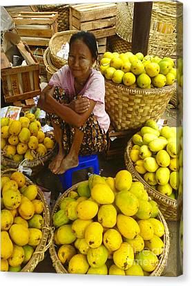 Burmese Lady Selling Fresh Mangoes Zay Cho Street Market 27th Street Mandalay Burma Canvas Print by Ralph A  Ledergerber-Photography