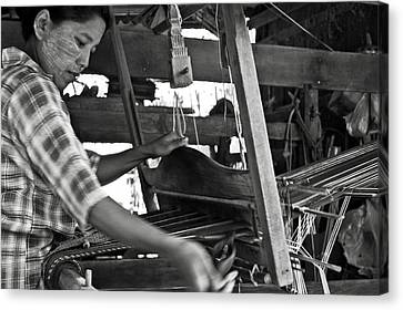 Bamboo House Canvas Print - Burmese Woman Working With A Handloom Weaving. by RicardMN Photography