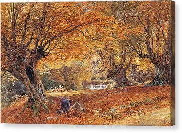 Burnham Beeches Canvas Print by Myles Birket Foster