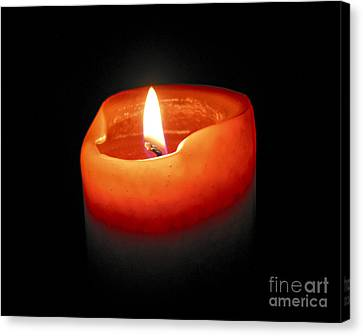 Candle Lit Canvas Print - Burning Candle by Elena Elisseeva