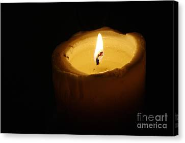 Flickering Light Canvas Print - Burning Candle by Michal Boubin