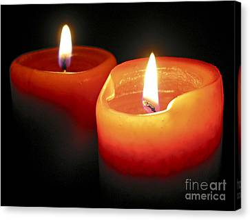 Candle Lit Canvas Print - Burning Candles by Elena Elisseeva