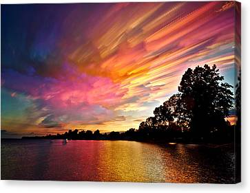 Burning Cotton Candy Flying Through The Sky Canvas Print by Matt Molloy