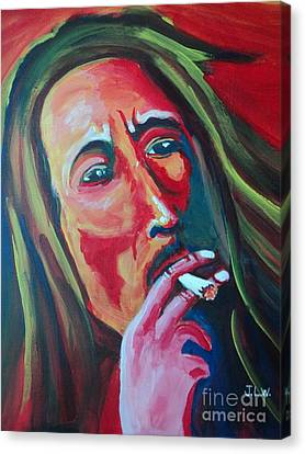 Canvas Print featuring the painting Burning Marley by Justin Lee Williams
