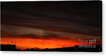 Burning Night Time Sky Canvas Print by John Telfer