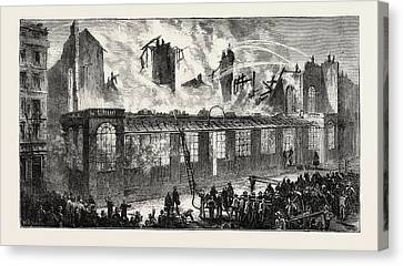 Burning Of The Old Paris Opera House, Viewed From The Rue Canvas Print by French School