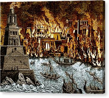 Burning Of The Royal Library Canvas Print by Science Source