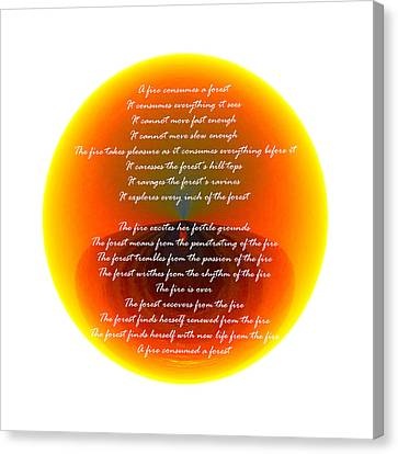 Burning Orb With Poem Canvas Print by Brent Dolliver