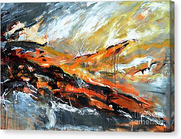 Burning Sky- Abstract Canvas Print by Ismeta Gruenwald