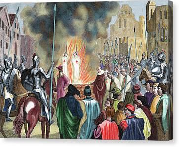 Burning Templar In The 14th Century Canvas Print by Prisma Archivo