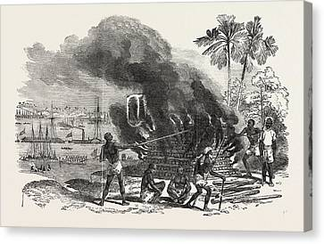 Burning The Body Of The Late Dewan Moolraj Canvas Print by English School