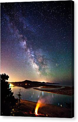 Burning The Milky Way Canvas Print by Darren  White