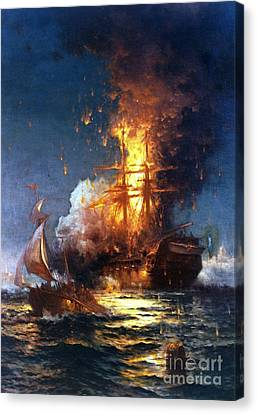 Moran Canvas Print - Burning The Uss Philadelphia by Pg Reproductions