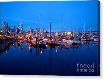 Vancouver At Night Canvas Print - Burrard Civic Marina At Dusk by Terry Elniski