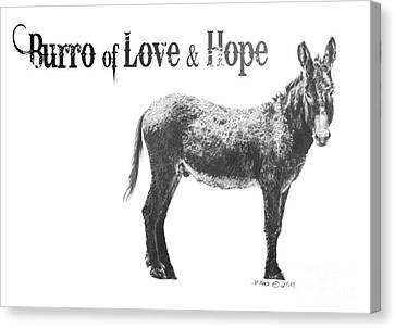 Canvas Print featuring the drawing Burro Of Love And Hope by Marianne NANA Betts