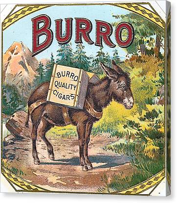 Burro Quality Of Cigars Label Canvas Print by Label Art
