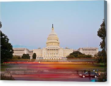 Bus Blur And U.s.capitol Building Canvas Print by Richard Nowitz