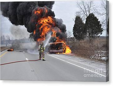 Bus Fire Canvas Print by Steven Townsend