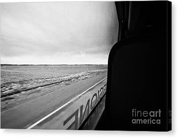 bus ride through flat lands of Tierra Del Fuego island Chile between punta arenas and ushuaia Canvas Print
