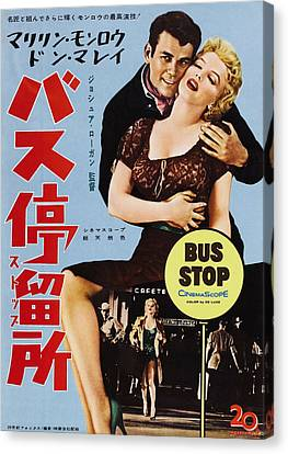 Stop Sign Canvas Print - Bus Stop, L-r Don Murray, Marilyn by Everett