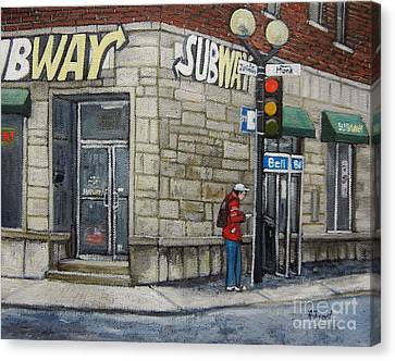 Bus Stop On Monk Canvas Print by Reb Frost