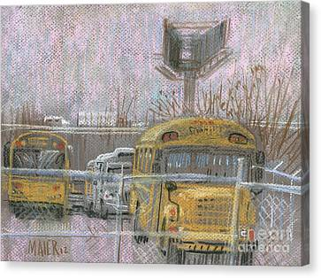 School Bus Canvas Print - Bus Trucks And Billboards by Donald Maier