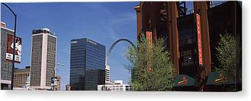 Busch Stadium And Gateway Arch In St Canvas Print by Panoramic Images