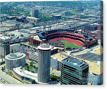 Busch Stadium From The Top Of The Arch Canvas Print by Janette Boyd