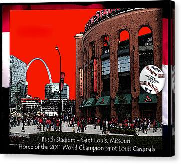 Canvas Print featuring the digital art Busch Stadium by John Freidenberg