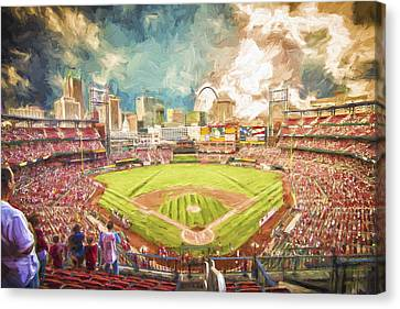 Busch Stadium St. Louis Cardinals Day Paint Canvas Print by David Haskett