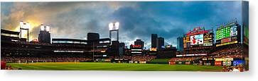 Night Game At Busch Stadium - St. Louis Cardinals Vs. Boston Red Sox Canvas Print by Gregory Ballos