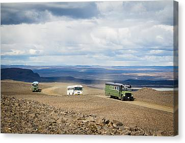 Canvas Print featuring the photograph Buses Of Landmannalaugar by Peta Thames